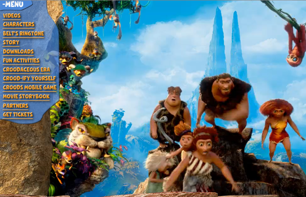 animated claymation movie croods website layout