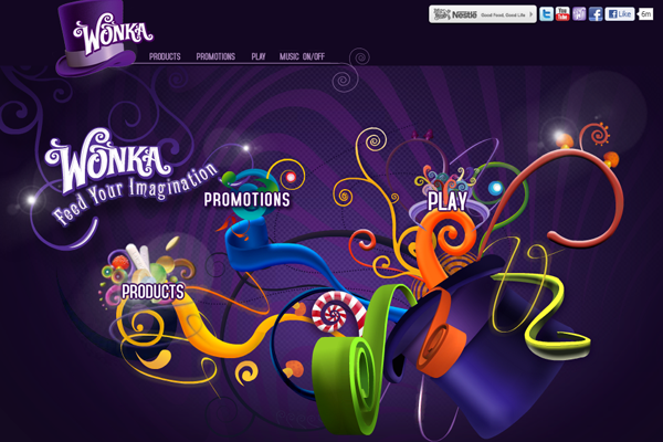 classic Wonka candy and chocolate bars website layout