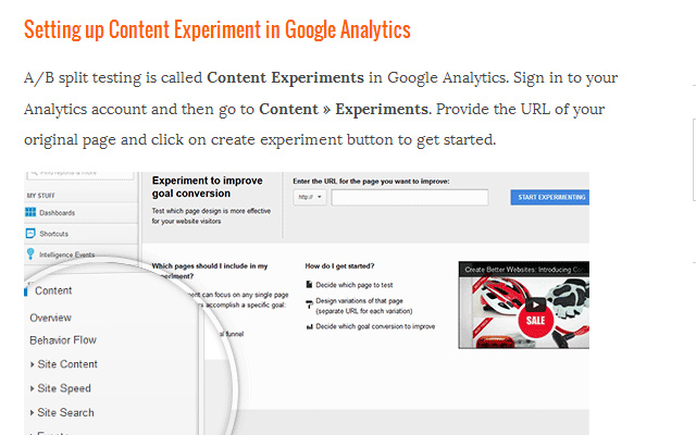 ab split testing wordpress environment google analytics