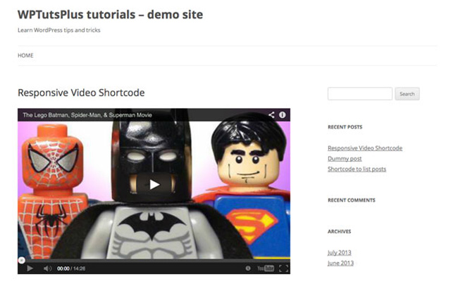 shortcode video display responsive wordpress