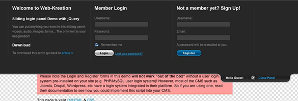 Nice & Clean Sliding Login Panel built with jQuery