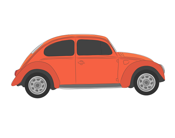 Retro VW Beetle Vector Illustration