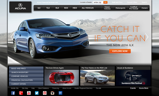 acura car company website design