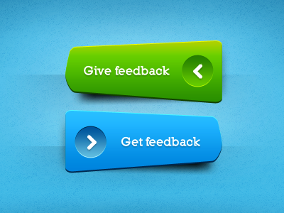 green and blue feedback buttons