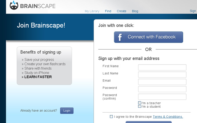 blue clean login register form brainscape