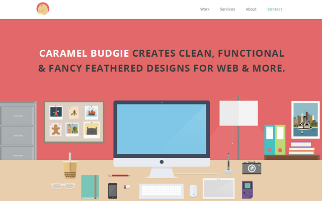 caramel budgie flat colorful design website