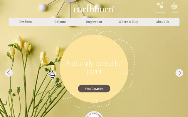 earthborn yellow website layout homepage