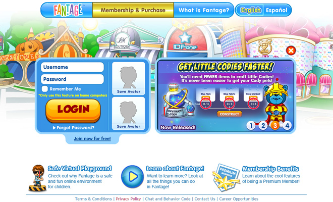 fantage virtual world kids website layout