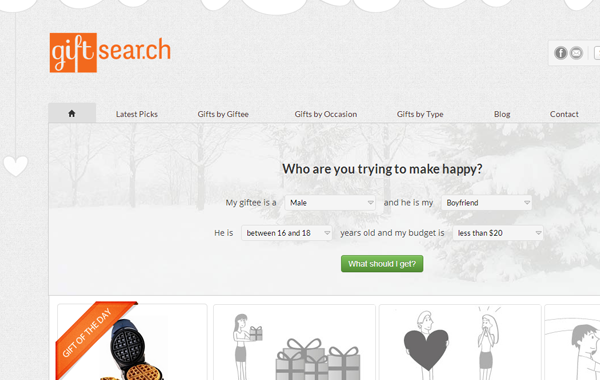 gift search website inspiring bootstrap