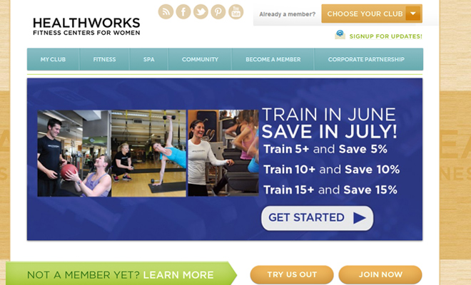 healthworks fitness gym health website simple homepage