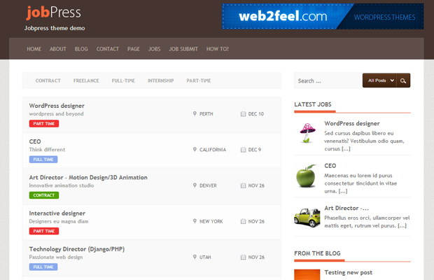 flat wordpress job board theme jobpress free