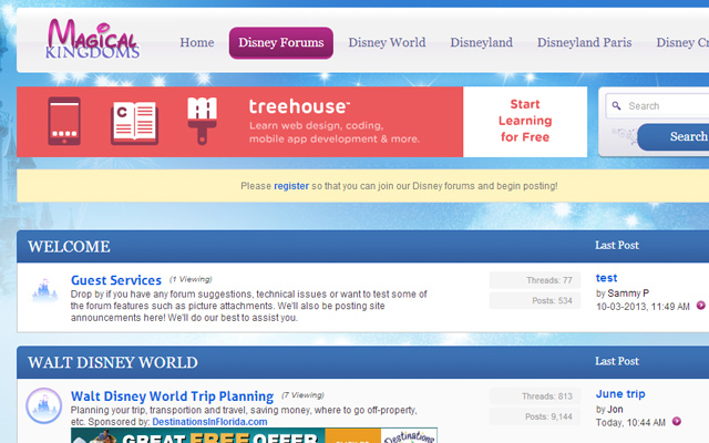 magical kingdoms disney forum website layout