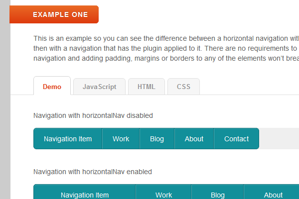 Responsive website horizontal navigation menu