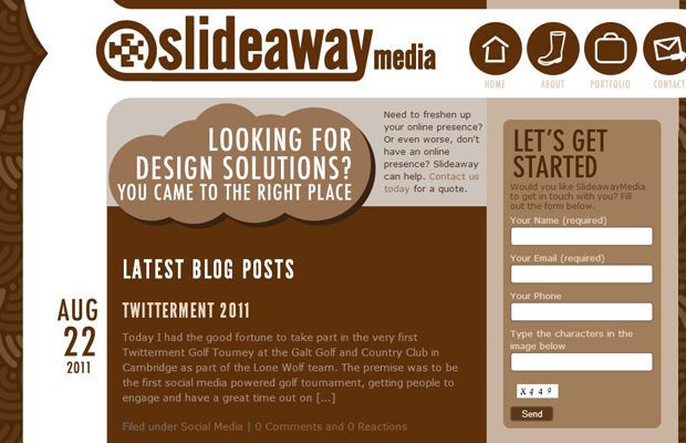 slideaway media website design brown layout