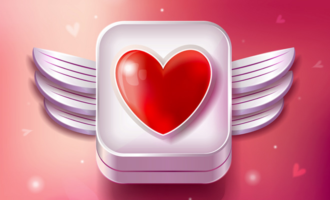 sparkling red heart pink background icon