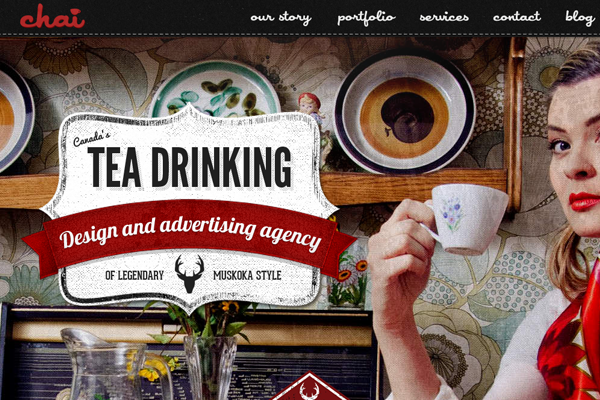 vintage tea drinking advertisements website layout