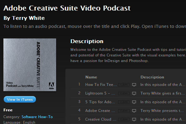 adobe creative suite videos podcast itunes