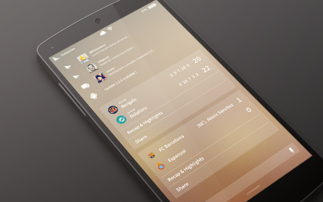 notification panel android app ui concept