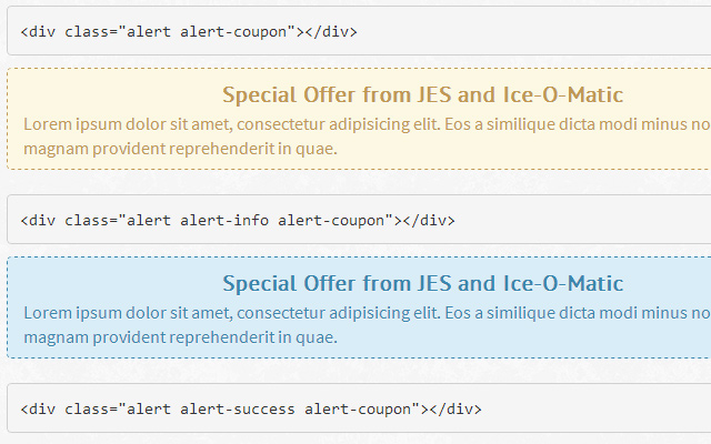 dashed coupon style alert boxes bootstrap