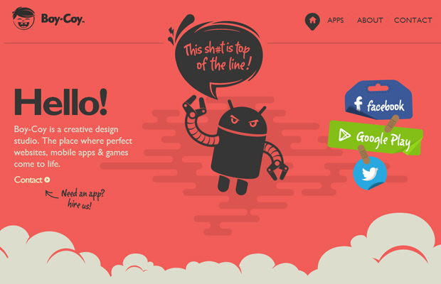 red boycoy website layout parallax animation
