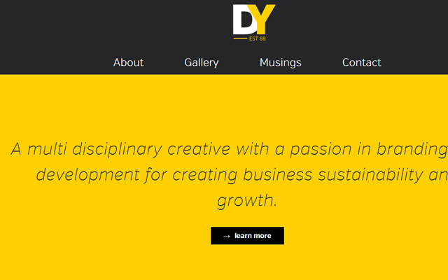 david yarde dark yellow website layout homepage