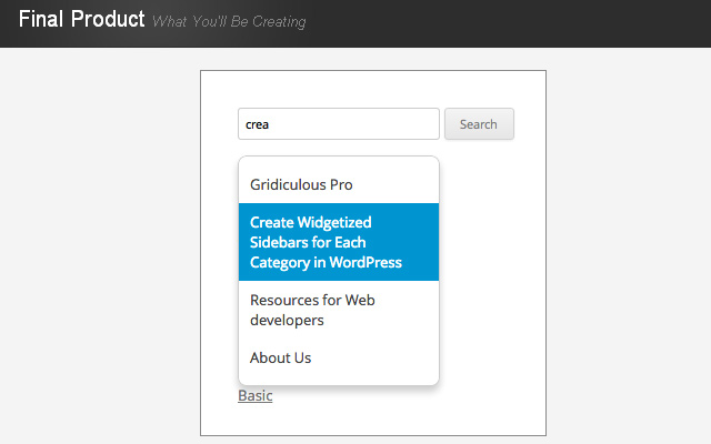 auto suggest keywords wordpress search form