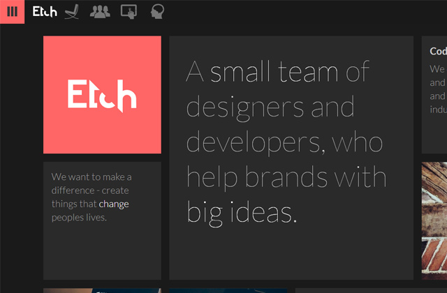 etch apps studio flat website colors