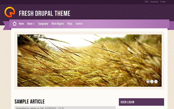 purple website theme drupal classic template freshie