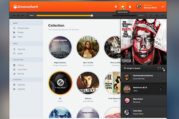 grooveshark design psd ui download freebie