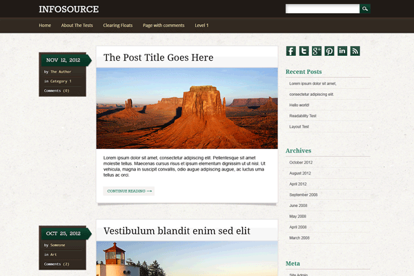 wordpress blog layout theme freebie infosource ui