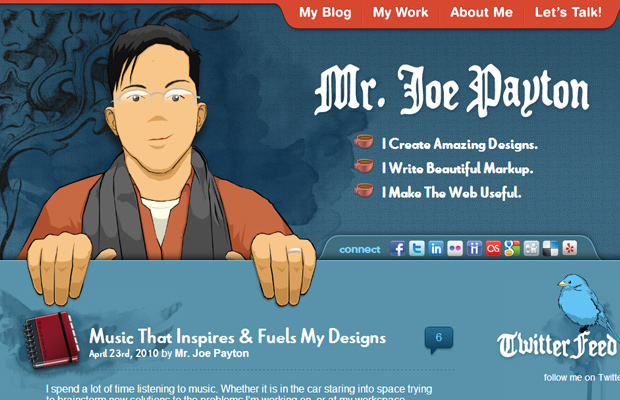 joe joseph payton blue website layout