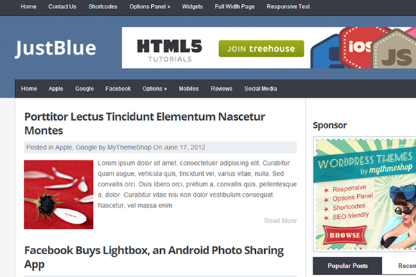 JustBlue WordPress Theme MyThemeShop freebie download