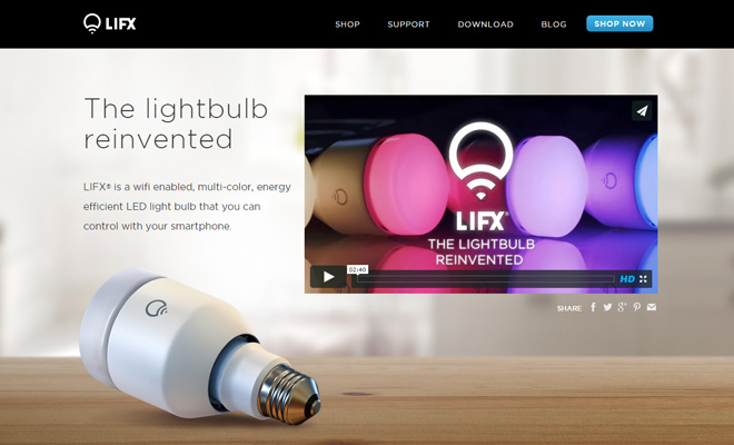 lifx gadgets company technology website layout