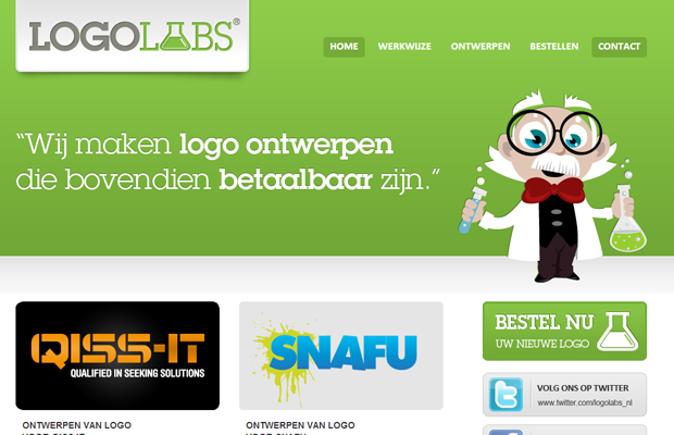 logolabs website layout green interface design