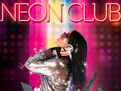 Neon Club poster freebie PSD