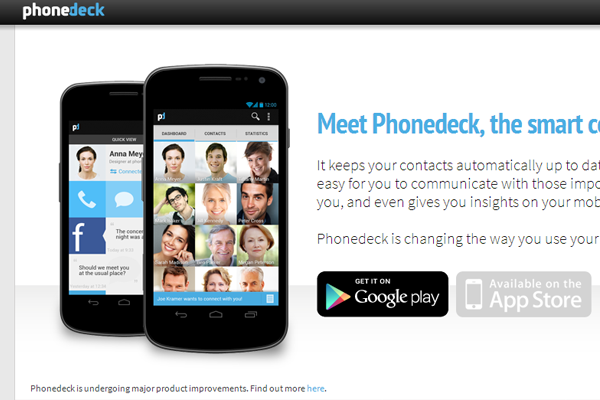 mobile Phonedeck app website layout Android iOS