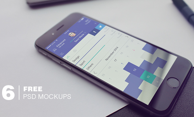 six freebie psd iphone mockups ui