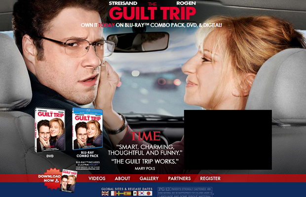 guilt trip movie website layout
