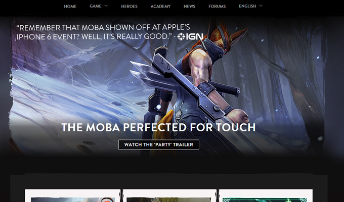 vainglory website homepage layout