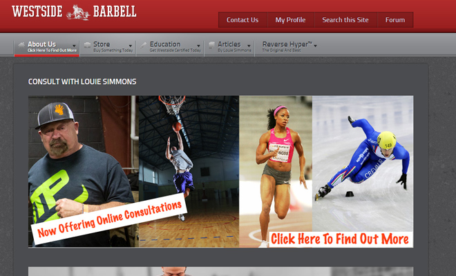 westside barbell routine website layout design inspiration
