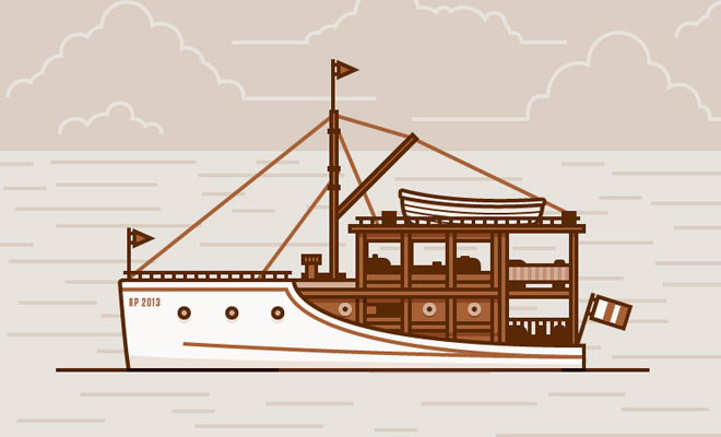 line vector art boat design