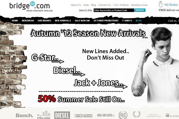 Men's designer clothes Bridge55 ecommerce layout