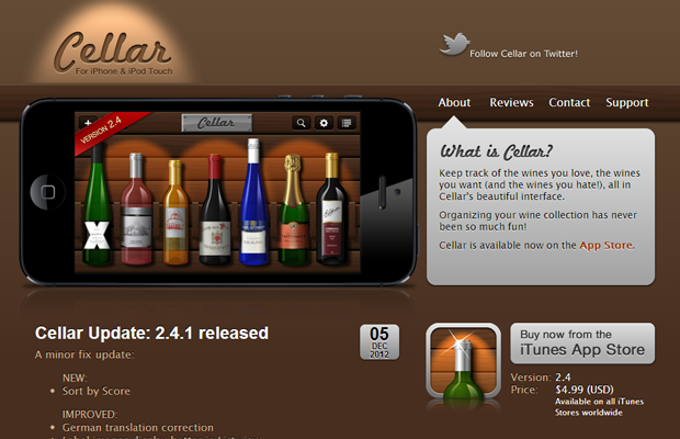 cellar app iphone ipod mobile brown website layout
