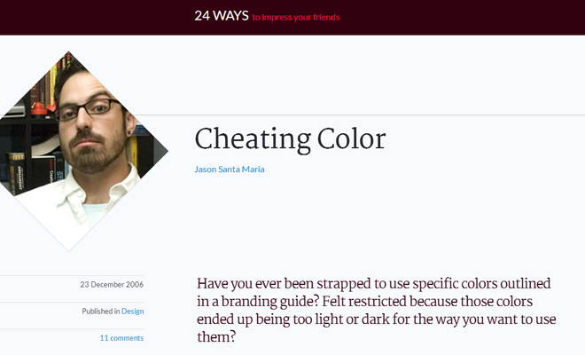 cheating color 24ways article design technique