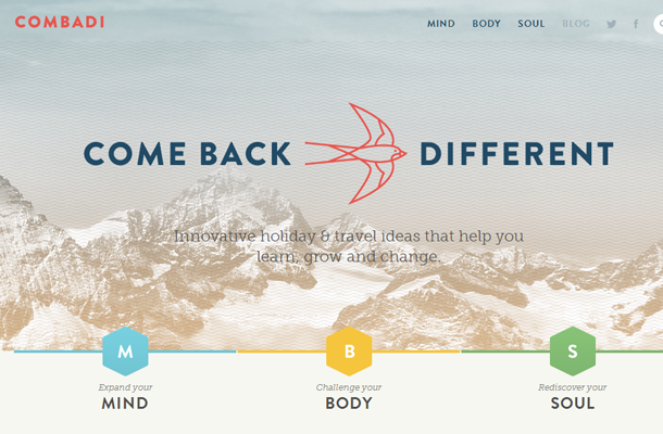 flat bright website layout inspirational