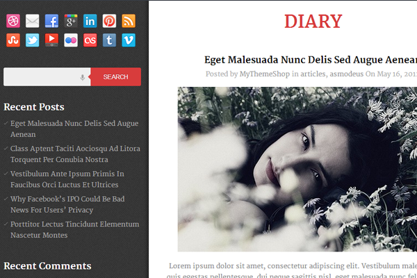 Wordpress MyThemeShop Freebie Download Theme Diary