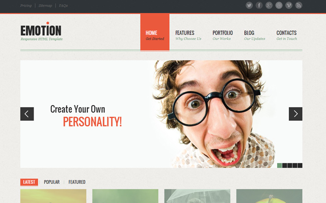 emotion responsive website template html5 design