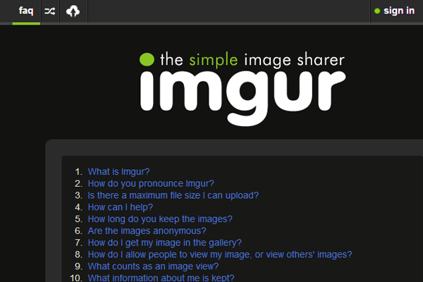Imgur website layout gallery designs faq page