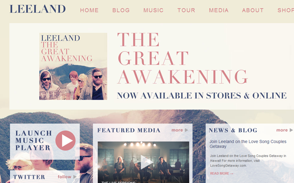leeland band musical website layout interface