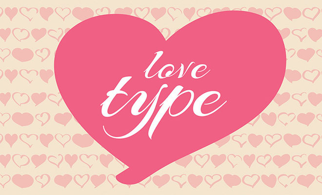 lovetype font design heart valentines day